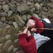 Bizzi Lizzi knitting in the wild with her mitts from Jen