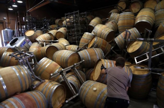 topped barrels from Napa Quake