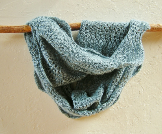 jenjoycedesign© Altitude lace cowl on sassafrass walking stick