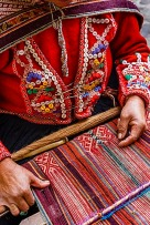 Quechua woman weaving a traditional textile, Cuzco, Peru, South America