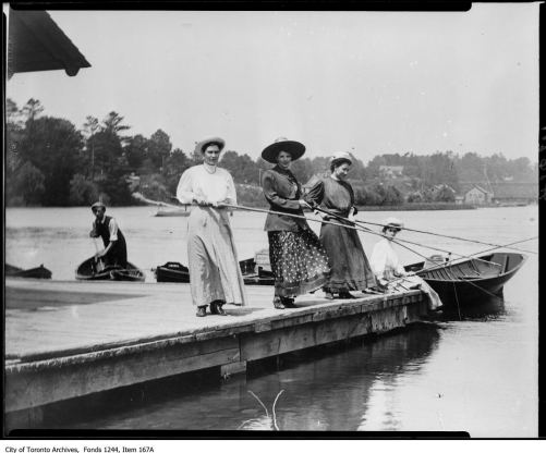 Three women fishing. - [1908?]