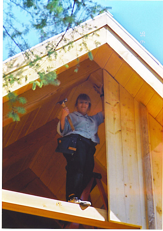 Jen nailing down T & G walls--Sept 2001